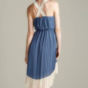 Color Block Asymmetrical Pleated Dress
